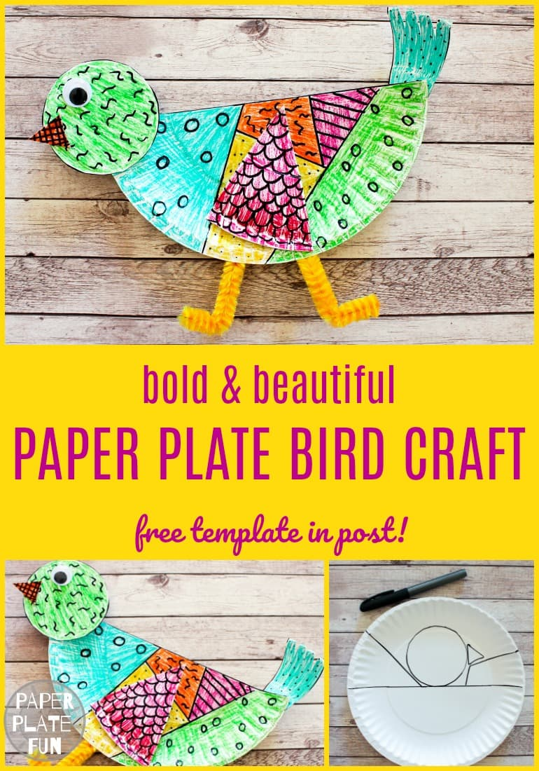 Make a colorful paper plate bird craft using the free paper plate craft template in this post. This Keith Haring inspired craft is great for all ages!