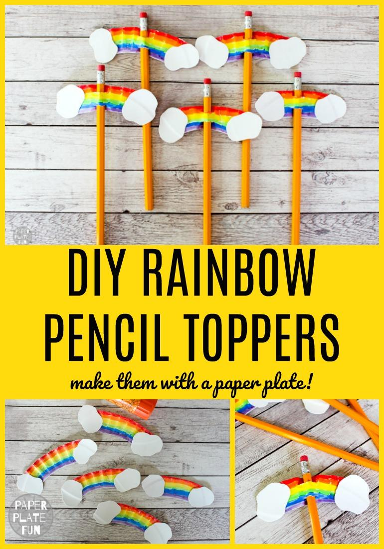 DIY Rainbow Pencil Toppers are such a cute and inexpensive craft for kids! This rainbow craft is awesome for St. Patrick's Day, back-to-school, Vacation Bible School, summer camp crafts, and more! It's cheap, easy and fun!