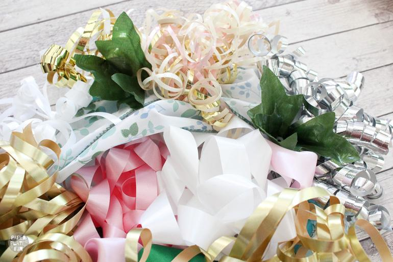 Learn how to make a bridal shower bow bouquet!