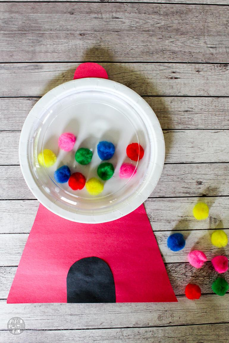 Such a sweet gumball machine kids craft that's made with paper plates! Get the gumball machine template in the post and make this fun paper plate craft.