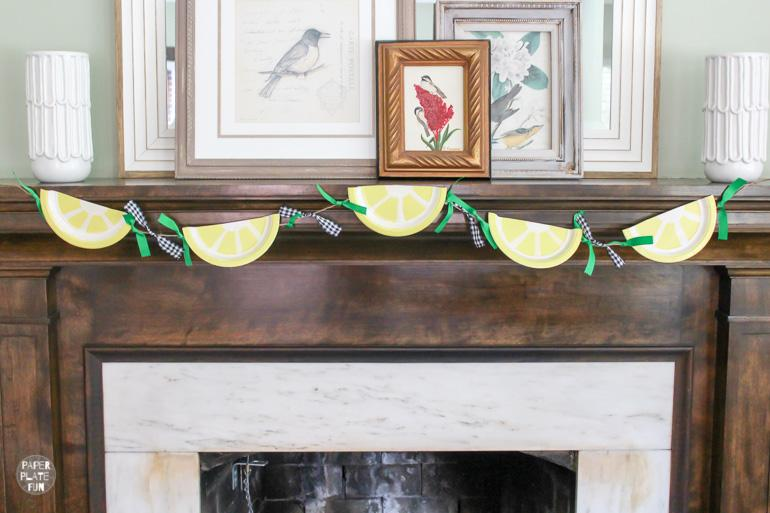 Lemons are hot in home decor and party decor! Learn how to use paper plates to make an adorable lemon slice banner of your own! It's so easy and inexpensive to get the trendy lemon look.