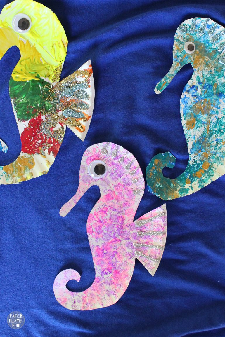 A herd of paper plate seahorses is a fun summer craft!