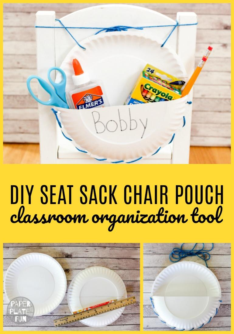 So great! Make a DIY Seat Sack Chair Pouch organizer for the back of classroom chairs! Paper plates make this project super affordable for all classroom budgets!