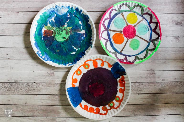 Use paper plates and colored sand to create beautiful sand art mandalas.