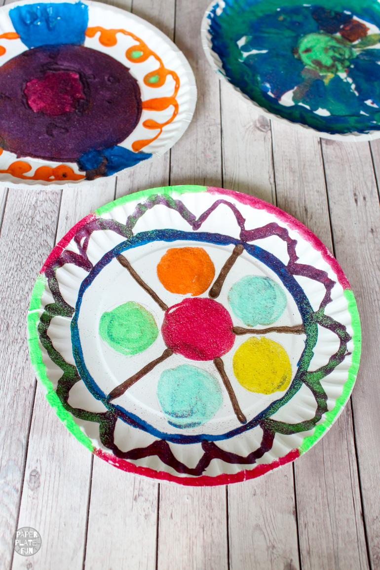 Paper plate sand art mandalas are a great craft that blend art and history.