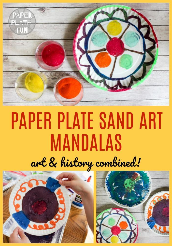 Kids and teens will love making colored sand art mandalas with paper plates! This great craft blends art and history so it's extra educational!