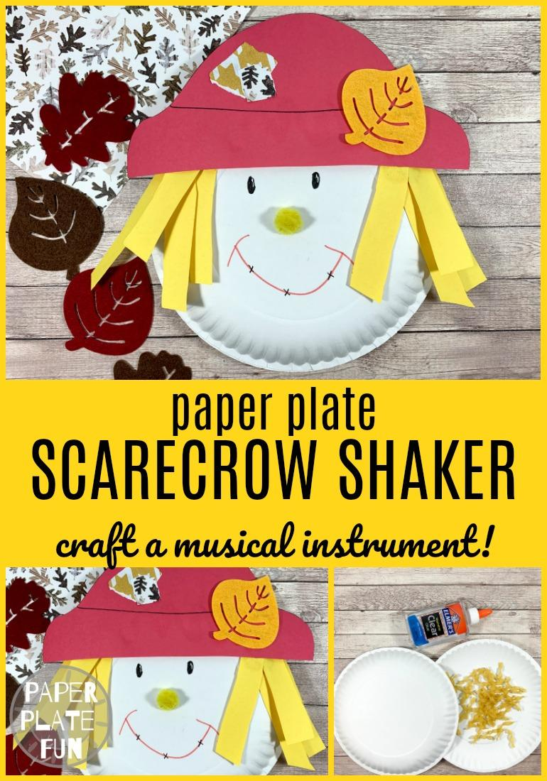 Scare the crows away with this cute paper plate scarecrow craft! This scarecrow shaker doubles as a musical instrument when used like a tambourine!