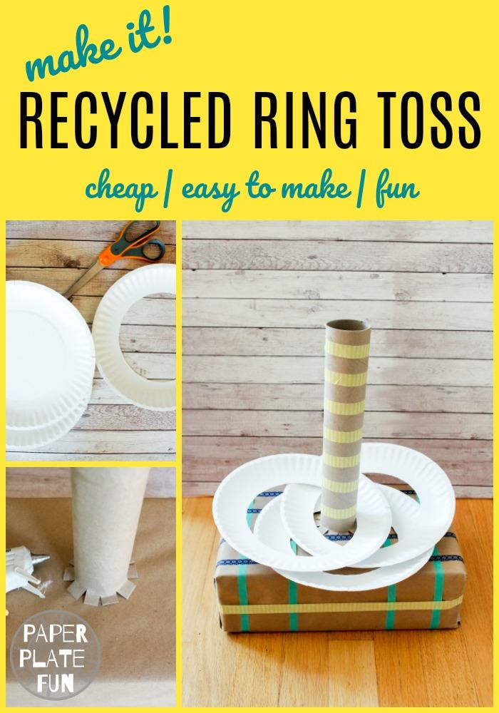 So fun! Use paper plates and items from the recycling bin to make a DIY RING TOSS game! Kids will have a blast with this at class parties, indoor recess, or on rainy days.  #indoorkidsgames #indoorkidsactivities #partygames #diykidsgames