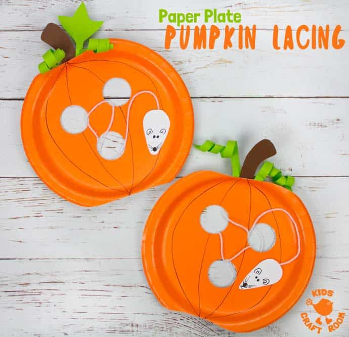 This paper plate pumpkin lacing craft from Kids Craft Room is one of fifteen fall paper plate crafts for kids shared in this great blog post!