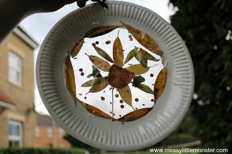This leaf suncatcher craft from Messy Little Monster is one of fifteen fall paper plate crafts for kids shared in this great blog post!