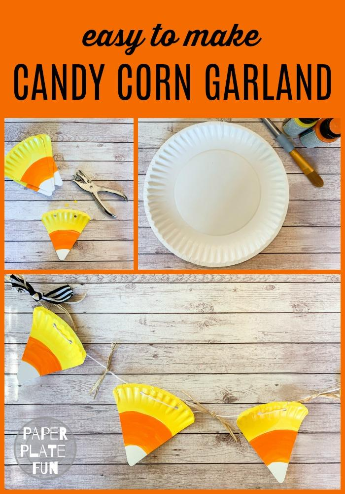 Learn to make an adorable paper plate candy corn garland for your fall and Halloween decor! This candy corn banner adds a sweet touch to your decorations.