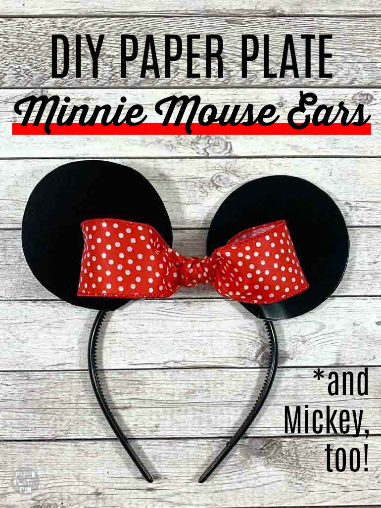 These are the EASIEST DIY Minnie Mouse ears ever! And guess what? They're made with paper plates! Click through for the tutorial, and to see how to make Mickey Mouse ears, too!