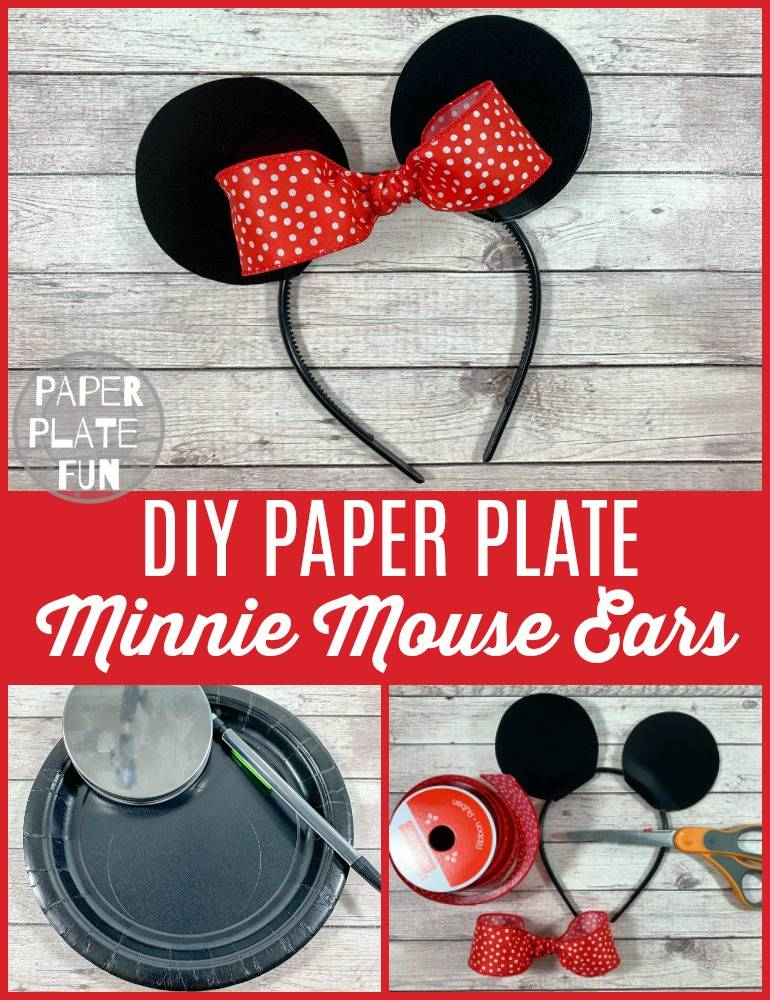 This is brilliant!! See how to make DIY Minnie Moue ears or DIY Mickey Mouse ears with PAPER PLATES! Seriously! These mouse ear headbands are so affordable and easy to make!